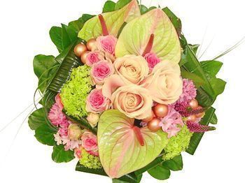 Bouquet rond en camaieu rose