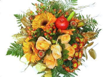 Beau bouquet en camaïeu orange